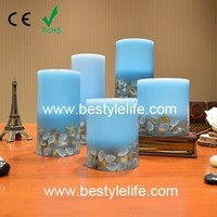 blue wax LED candle christmas decoration