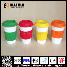 400ml Single Walled Ceramic Coffee Mug with Silicone lid for travel