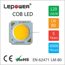 COB 1616 LED Module 10W, 110lm/W led chip with optic lens for down light