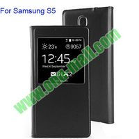 2014 Newest For Samsung Galaxy S5 Case with Flip design and View Windown