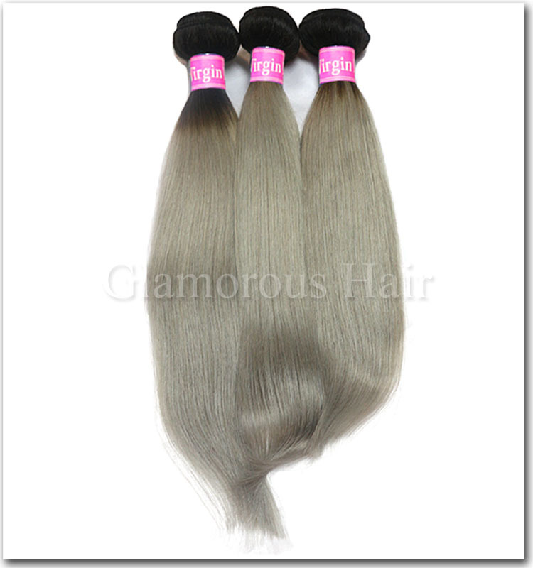 Black Natural Color At Top Two Tone Ombre Remy Hair Weavinggrey