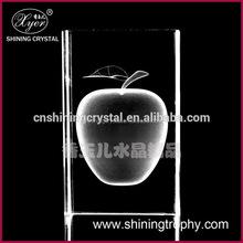 3d laser clear crystal apple