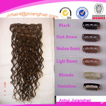 NEW fantastic curly black clip in hair extensions, clip in hairs, clip hair pieces,