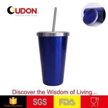 0.48L Eco-friendly stainless steel coffee mug with straw