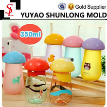 2015 New 350ml Creative portable lovely plastic mushroom water bottle