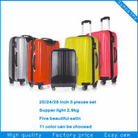 trolley bag luggage 2014 hot selling super light ABS+PC film trolley luggage suitcase
