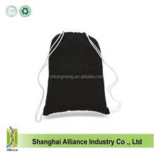 Black Cotton Drawstring Bag, Portable Drawstring Bag for Shopping