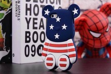 Newest 3d Gloomy teddy bear silicone mobile phone case for iphone 5 5G 5S 4 4s factory price
