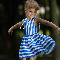 2015 Popular Kids Girls Dresses Sleeveless Blue Stripe Ruffle Dress Clothes For Children Wear GD80828-124F