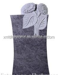 Good Quality Bahama Blue Granite Sunflowers Carving Upright Headstone