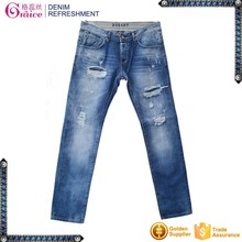 EU design high quality low waist stone washed skinny damaged jeans for men