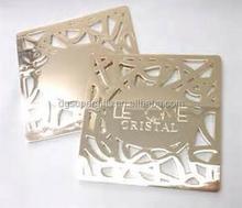 custom wedding hollow up stainless steel metal cup pad coaster, custom engraved coaster