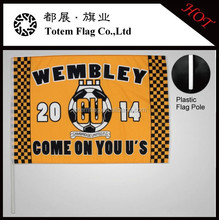 Competition Cheering Waving Flags , Hand Stick Flags Plastic Pole