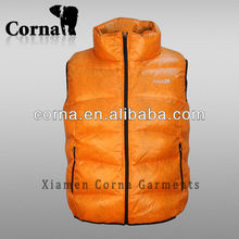 Alibaba china outdoor custom orange filling duck down vest for the winter
