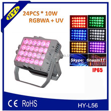 IP65 Newest ce rohs approval high power 24pcs*10w rgbwa + uv 6in1 led wall washer LED dj lighting