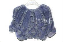 made in China women winter knitted rex rabbit fur shawl scarves