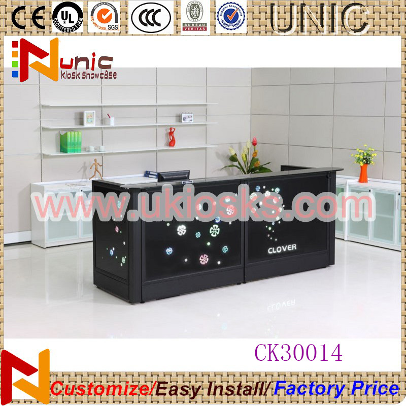 Customized wooden reception counter/round reception counter reception desk design for sale