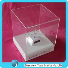 Luxury desk top display LED box case with white base, luxurious LED display box custom
