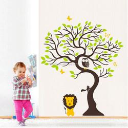 kids Cartoon Owl Lion Vinyl Wall Art Sticker