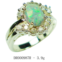 2015 Hot Sale Products Synthetic Opal Jewelry 925 Silver Cluster Ring