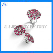cz cluster jewelry set with earring and ring