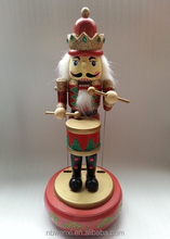 Hot sale tradation wooden christmas nutcracker toy with music gifts for home decoration