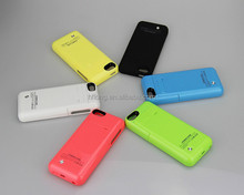 Top Selling High Quality Rechargeable External Backup Battery Cover for iphone5 Portable Charge Case Six Colors 5S 5G 5C