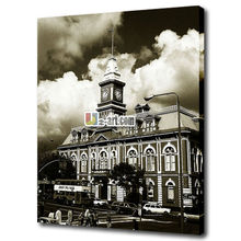 White and black building photo picture printing