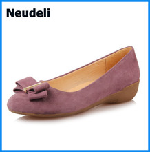 Bowtie Decorate Flats Shoes for Women Nubuck Leather Pointed Toe Strictly Comfort Shoes for Women
