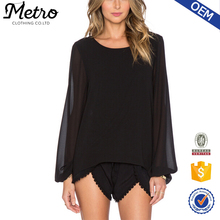 Women OEM Logo Elastic Black Chiffon Long Sleeve Blouse 2015 Chiffon Blouse