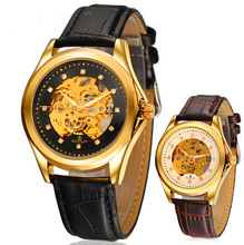 2015 high quality Leather Mechanical Skeleton Wristwatch Men Watch Business Skeleton Automatic Self-Wind ME-16
