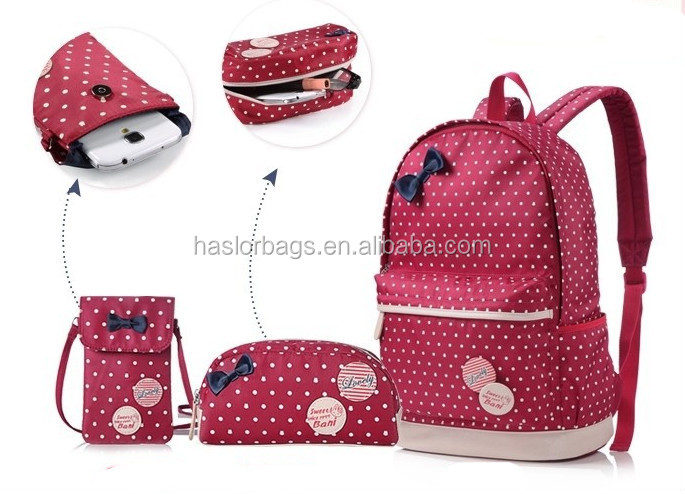 2015 mode haute catégorie des étudiants école Bag Set pour fille