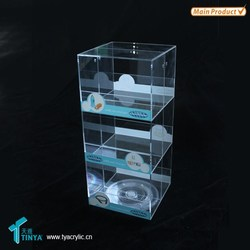 Alibaba China Warehouses Rotating 3 Compartments Transparent Mobile Phone Accessory Acrylic Cellphone Charger Display