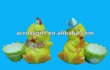 colorful ceramic animal cartoon chicken w/ egg cup