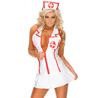 factory sale sexy halloween costumes nudeWell Care Leather Nurse Lingerie