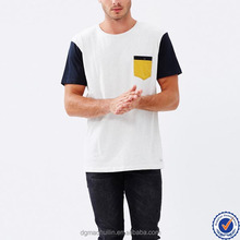 Wholesale fashion design clothes color-block design cotton t shirts for men with contrast sleeves