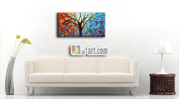 Buy Colorful trees artwork painted on canvas palette knife oil painting plants for kids room wall decoration   50cmx100cm cheap