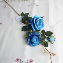 Artificial blue rose flower stem cheap wholesale in guangzhou