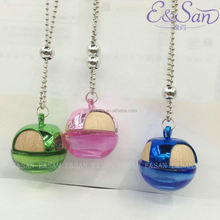 FMS024 5ML Wholesale Colored Apple Shape Wooden Cap With Bead Rope Glass Refill Empty Car Perfume Diffuse Hanging Bottle