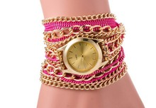 Vogue Ladies Gold Chain Leather Bracelet Wrap Wrapped Lady Watch
