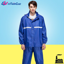 adult 100% polyester lightweight waterproof jacket with pants
