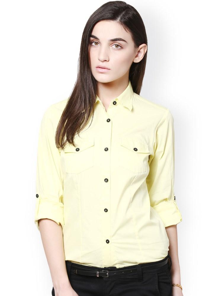 yellow formal long cotton shirts for girls buy long
