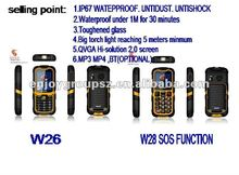 2.2inch rugged feature phone dual sim W26 solar mobile phone charger
