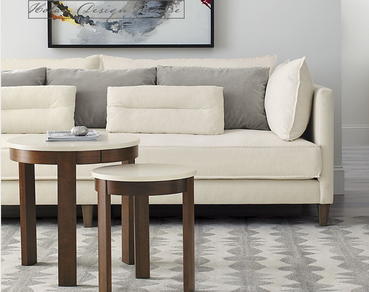 Modern Simple Designs White Fabric Chesterfield Sofa Set