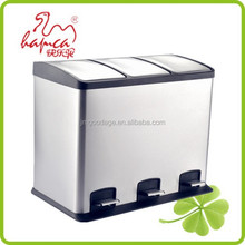 36L recycled Foot Pedal Structure And Eco-Friendly Feature 3 Compartment Waste Bin Trash Bin