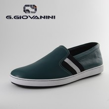 Italian leather green canvas shoes for men