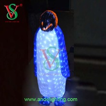 Cute 3D iron frame Mother Baby Penguin LED Outdoor Christmas Light Ornament