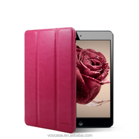 Yuqico hot sell PU leather stand case rotating triple folding cover for iPad mini