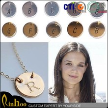 Stamped Gold Silver Initial Letter a b c d e f g h i j k l m n o p q r s d u v w x y z Charms necklace