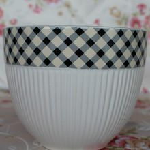 3 Sizes of Black and White Ceramic Outdoor Flower Pot